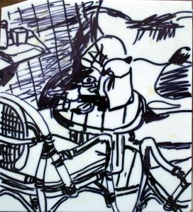 הזולה בכפר הצוללים באילת, עט שחור על פורמייקה