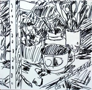 הסטודיו שלי, עט שחור על פורמייקה