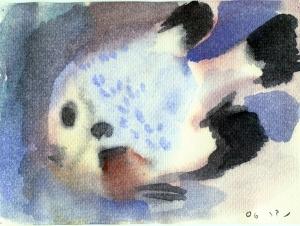 אלמוגית, אקוורל (צבע מים על נייר).