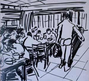 """חדר האוכל הישן, ע""""פ ארכיון  נען, טוש על פורמייקה."""