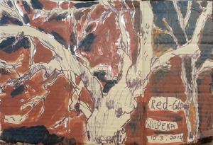 אקליפטוס אדום. עט שחור על קופסת קרטון. צבע אקרילי של מתחילים מרוח באצבע. על אפן וחמתן של הברקודות..