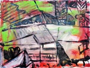צבע תעשייתי על בד ערבי. 115X90