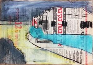 רישום צבע על נייר עיתון